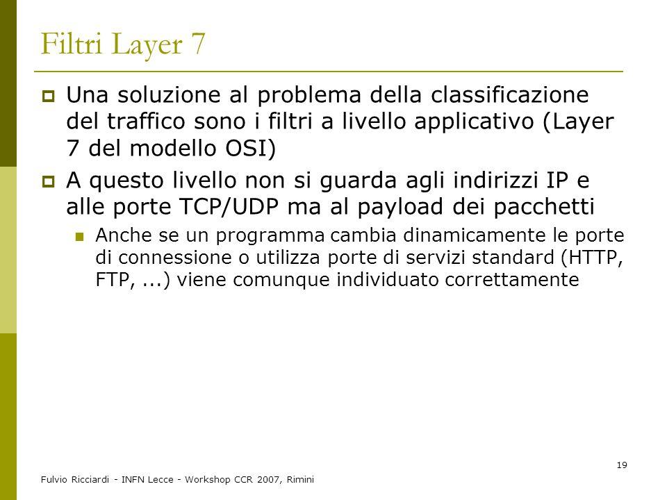 Fulvio Ricciardi - INFN Lecce - Workshop CCR 2007, Rimini 19 Filtri Layer 7  Una soluzione al problema della classificazione del traffico sono i filt