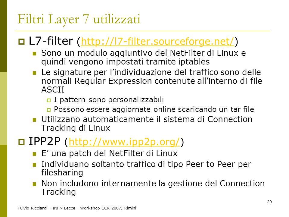 Fulvio Ricciardi - INFN Lecce - Workshop CCR 2007, Rimini 20 Filtri Layer 7 utilizzati  L7-filter (http://l7-filter.sourceforge.net/)http://l7-filter