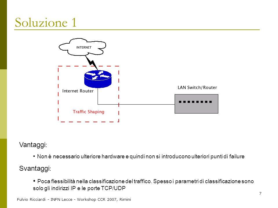 Fulvio Ricciardi - INFN Lecce - Workshop CCR 2007, Rimini 7 Soluzione 1 Vantaggi : Non è necessario ulteriore hardware e quindi non si introducono ult