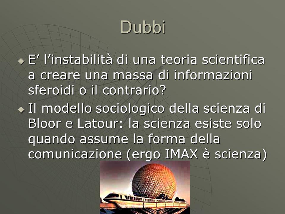 Dubbi  E' l'instabilità di una teoria scientifica a creare una massa di informazioni sferoidi o il contrario?  Il modello sociologico della scienza