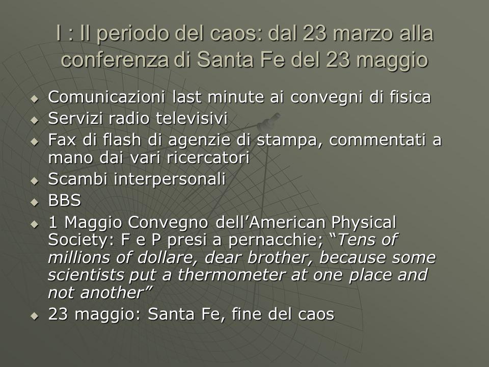 I : Il periodo del caos: dal 23 marzo alla conferenza di Santa Fe del 23 maggio  Comunicazioni last minute ai convegni di fisica  Servizi radio tele