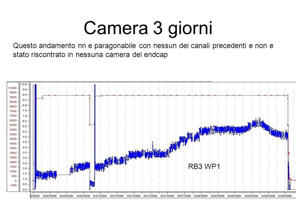 Camera 3 giorni RB3 WP1 Questo andamento nn e paragonabile con nessun dei canali precedenti e non e stato riscontrato in nessuna camera del endcap