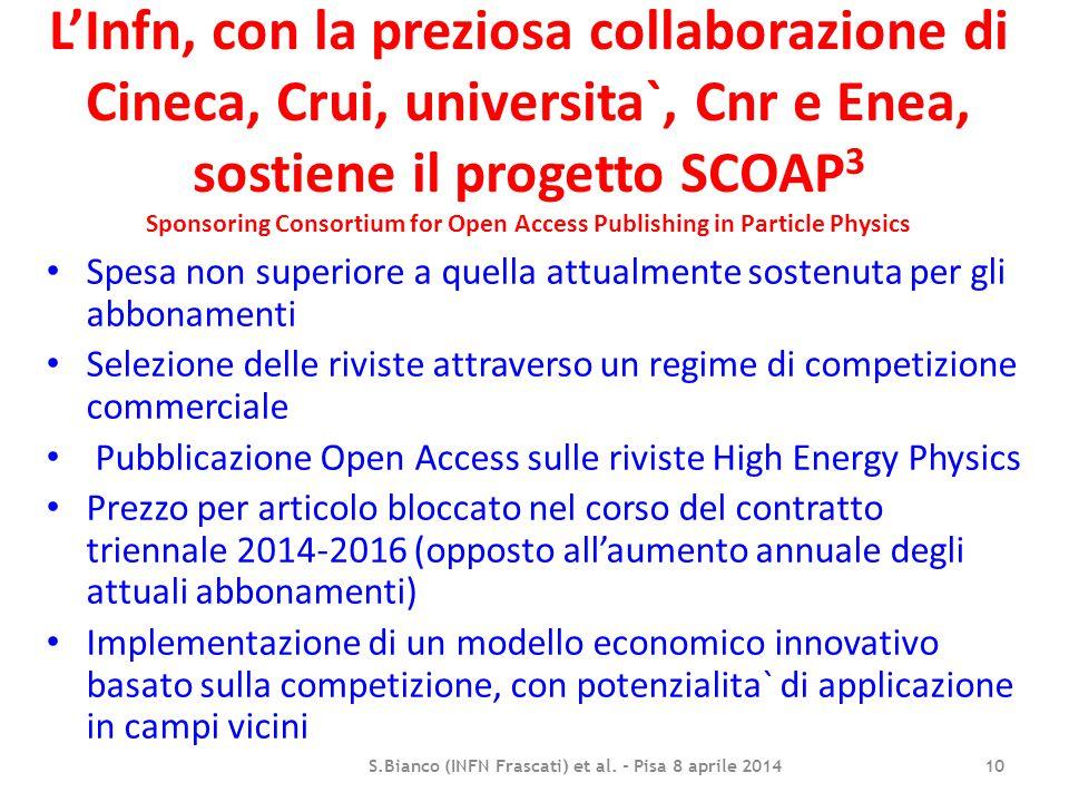 L'Infn, con la preziosa collaborazione di Cineca, Crui, universita`, Cnr e Enea, sostiene il progetto SCOAP 3 Sponsoring Consortium for Open Access Pu