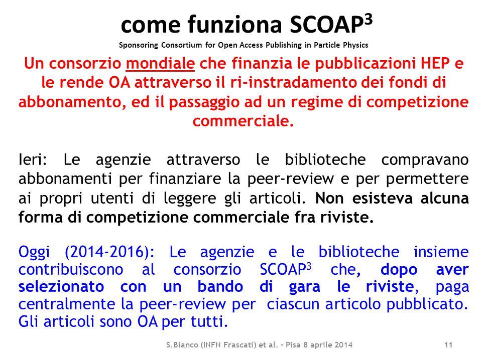 come funziona SCOAP 3 Sponsoring Consortium for Open Access Publishing in Particle Physics 11 Un consorzio mondiale che finanzia le pubblicazioni HEP