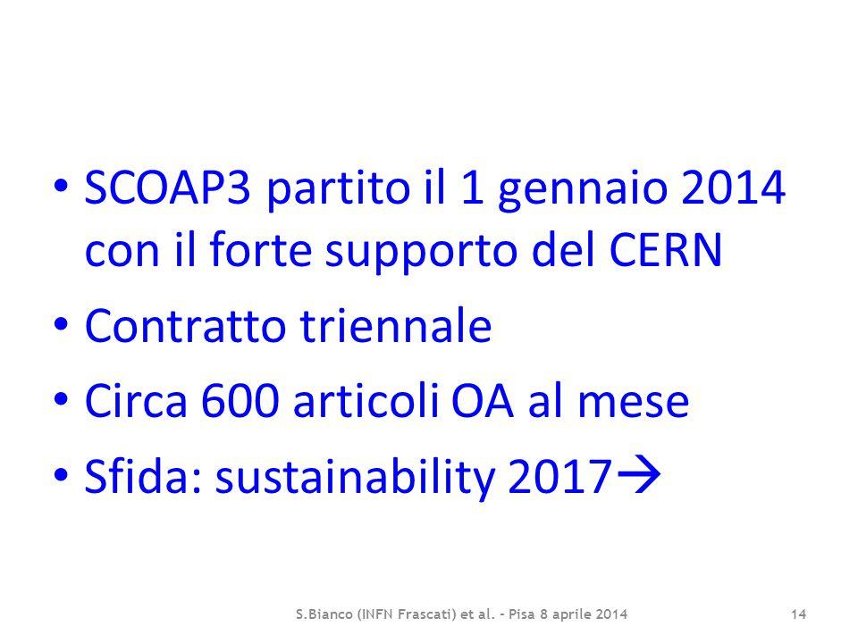 SCOAP3 partito il 1 gennaio 2014 con il forte supporto del CERN Contratto triennale Circa 600 articoli OA al mese Sfida: sustainability 2017  S.Bianc
