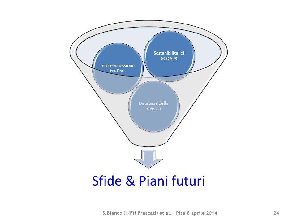 Sfide & Piani futuri Database della ricerca Interconnessione fra Enti Sostenibilita' di SCOAP3 S.Bianco (INFN Frascati) et al. - Pisa 8 aprile 2014 24