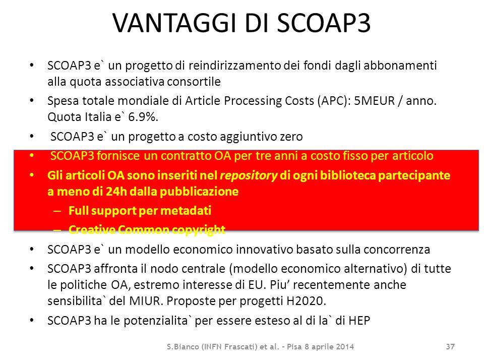 VANTAGGI DI SCOAP3 SCOAP3 e` un progetto di reindirizzamento dei fondi dagli abbonamenti alla quota associativa consortile Spesa totale mondiale di Ar