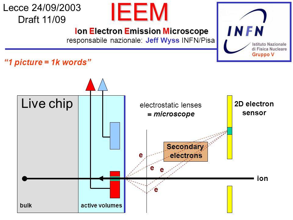IEEM Ion Electron Emission Microscope Lecce 24/09/2003 Draft 11/09 responsabile nazionale: Jeff Wyss INFN/Pisa e e e Secondary electrons bulkactive vo