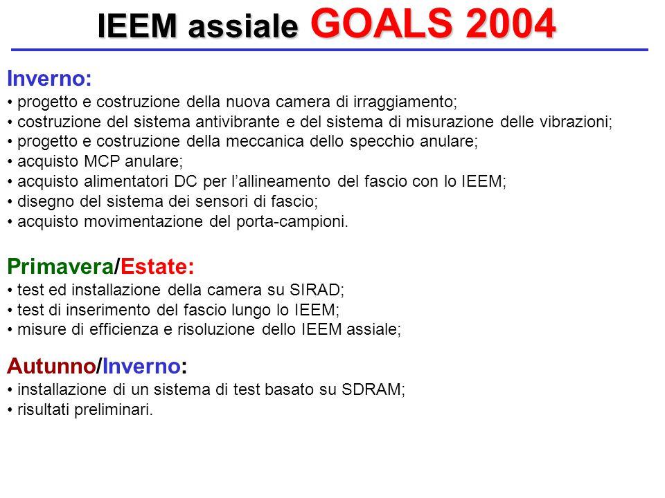 IEEM assiale GOALS 2004 Inverno: progetto e costruzione della nuova camera di irraggiamento; costruzione del sistema antivibrante e del sistema di mis