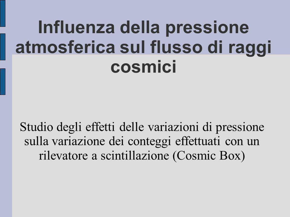 Influenza della pressione atmosferica sul flusso di raggi cosmici Studio degli effetti delle variazioni di pressione sulla variazione dei conteggi effettuati con un rilevatore a scintillazione (Cosmic Box)