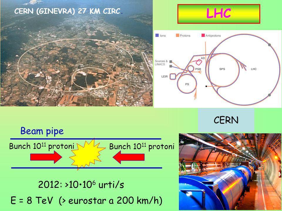 10 LHC CERN (GINEVRA) 27 KM CIRC. Bunch 10 11 protoni 2012: >1010 6 urti/s E = 8 TeV (> eurostar a 200 km/h) CERN Bunch 10 11 protoni Beam pipe