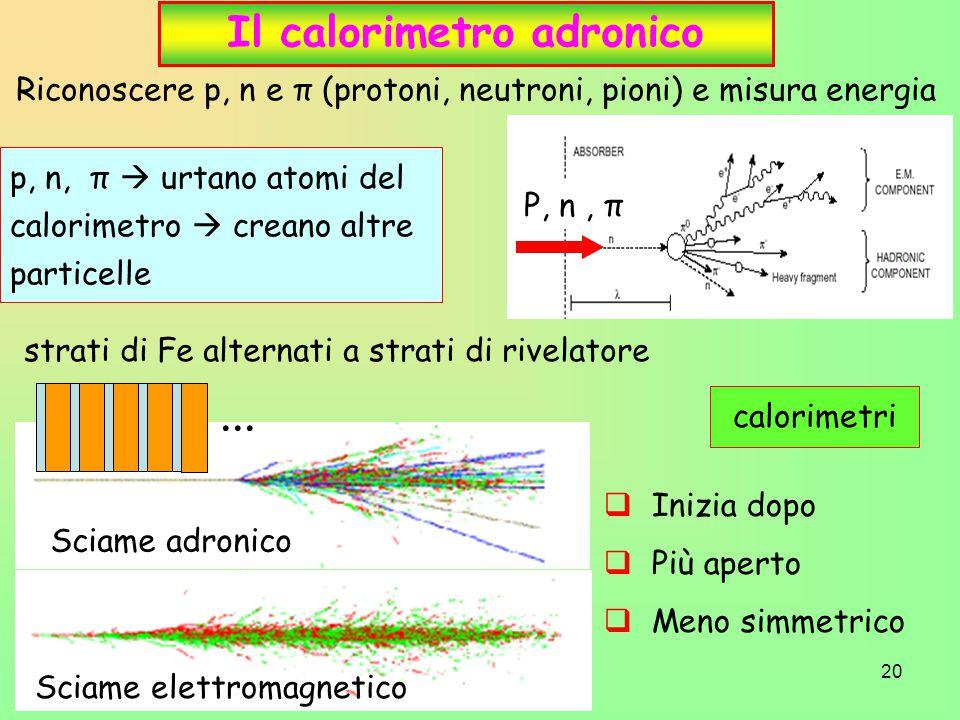 20 p, n, π  urtano atomi del calorimetro  creano altre particelle Il calorimetro adronico Riconoscere p, n e π (protoni, neutroni, pioni) e misura energia P, n, π strati di Fe alternati a strati di rivelatore Sciame adronico Sciame elettromagnetico...