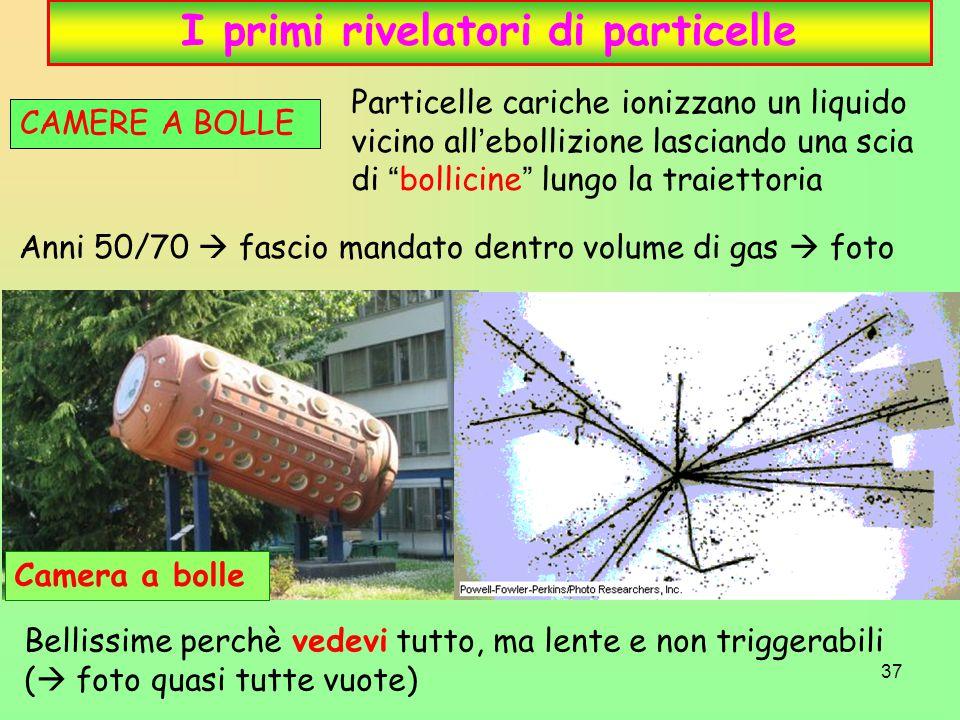 37 I primi rivelatori di particelle CAMERE A BOLLE Anni 50/70  fascio mandato dentro volume di gas  foto Camera a bolle Particelle cariche ionizzano