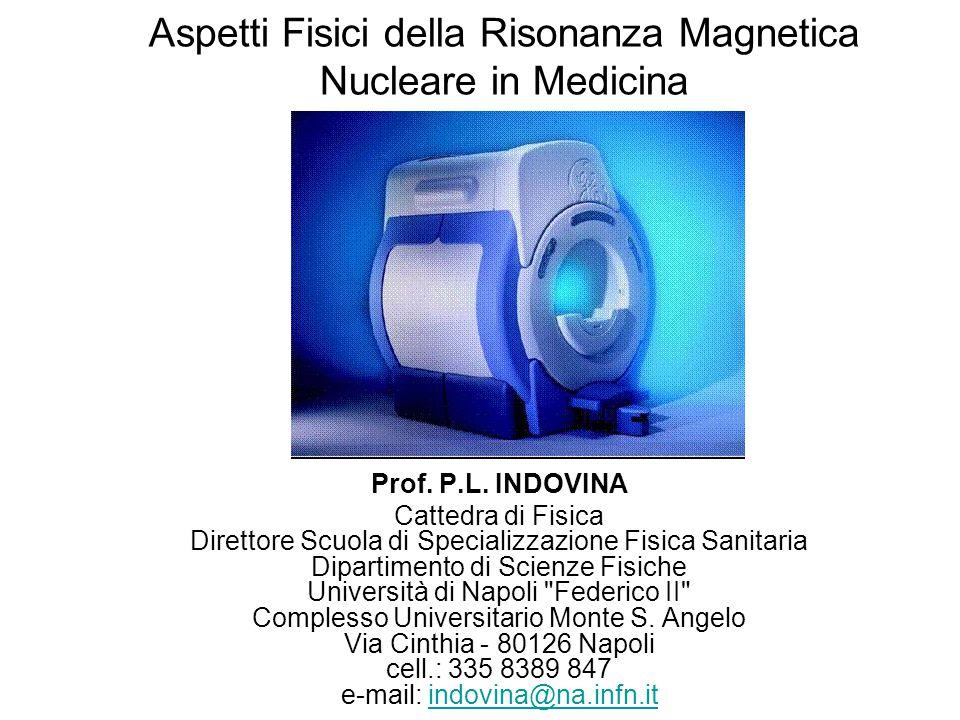 Aspetti Fisici della Risonanza Magnetica Nucleare in Medicina Prof. P.L. INDOVINA Cattedra di Fisica Direttore Scuola di Specializzazione Fisica Sanit
