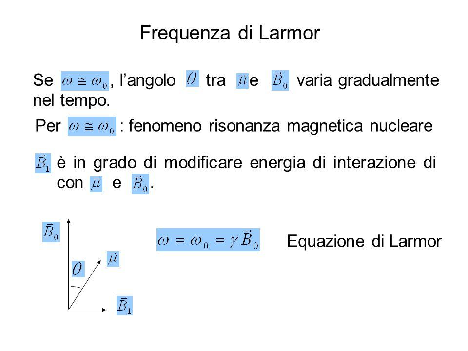 Se, l'angolo tra e varia gradualmente nel tempo. Per : fenomeno risonanza magnetica nucleare è in grado di modificare energia di interazione di con e.