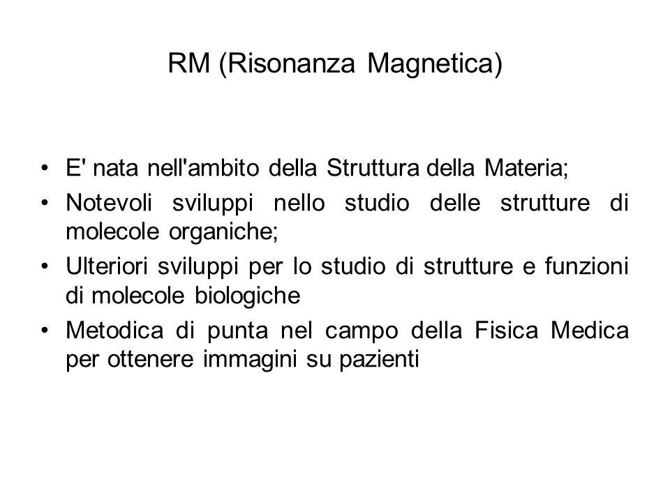 RM (Risonanza Magnetica) E' nata nell'ambito della Struttura della Materia; Notevoli sviluppi nello studio delle strutture di molecole organiche; Ulte