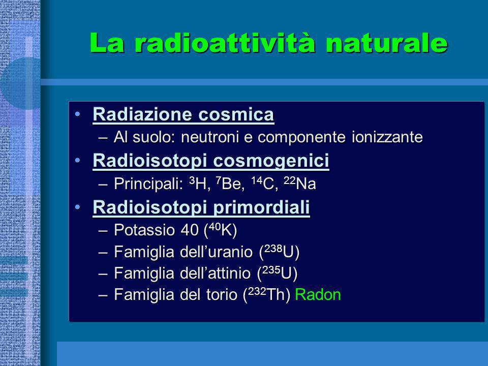 La radioattività naturale Radiazione cosmicaRadiazione cosmica –Al suolo: neutroni e componente ionizzante Radioisotopi cosmogeniciRadioisotopi cosmog