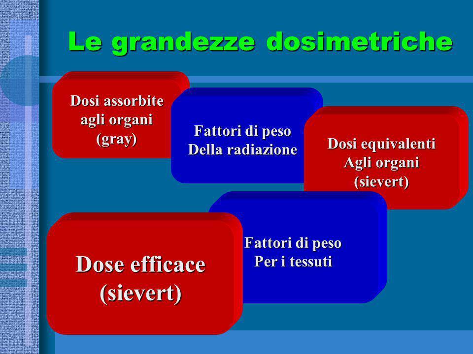 Dosi assorbite agli organi (gray) Fattori di peso Della radiazione Dosi equivalenti Agli organi (sievert) Fattori di peso Per i tessuti Dose efficace