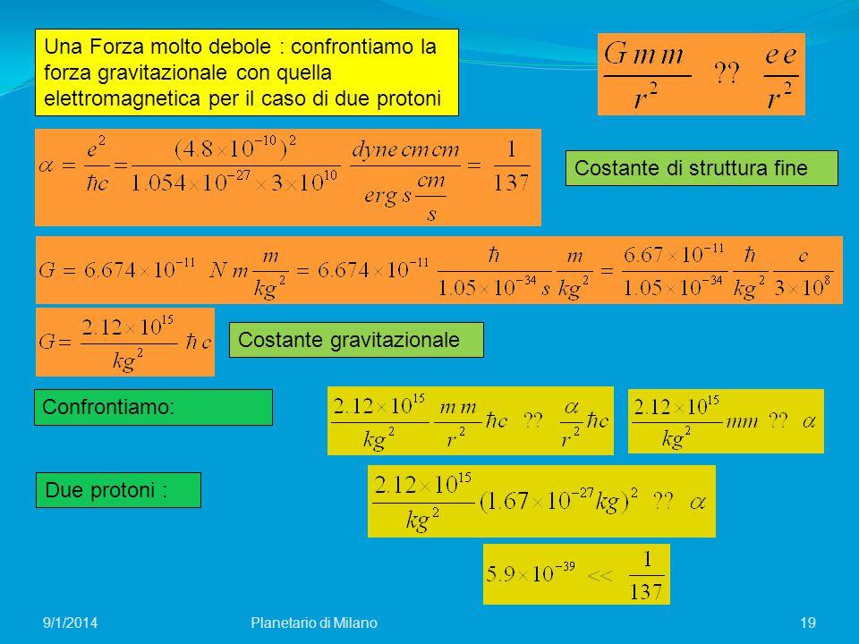 Una Forza molto debole : confrontiamo la forza gravitazionale con quella elettromagnetica per il caso di due protoni Confrontiamo: Due protoni : 19 Co