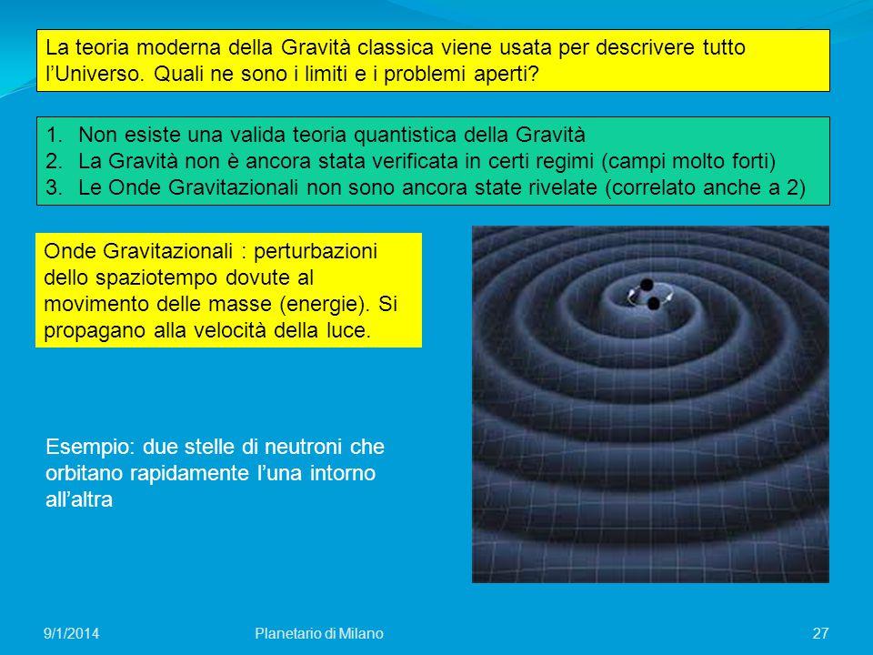 27Planetario di Milano9/1/2014 La teoria moderna della Gravità classica viene usata per descrivere tutto l'Universo. Quali ne sono i limiti e i proble