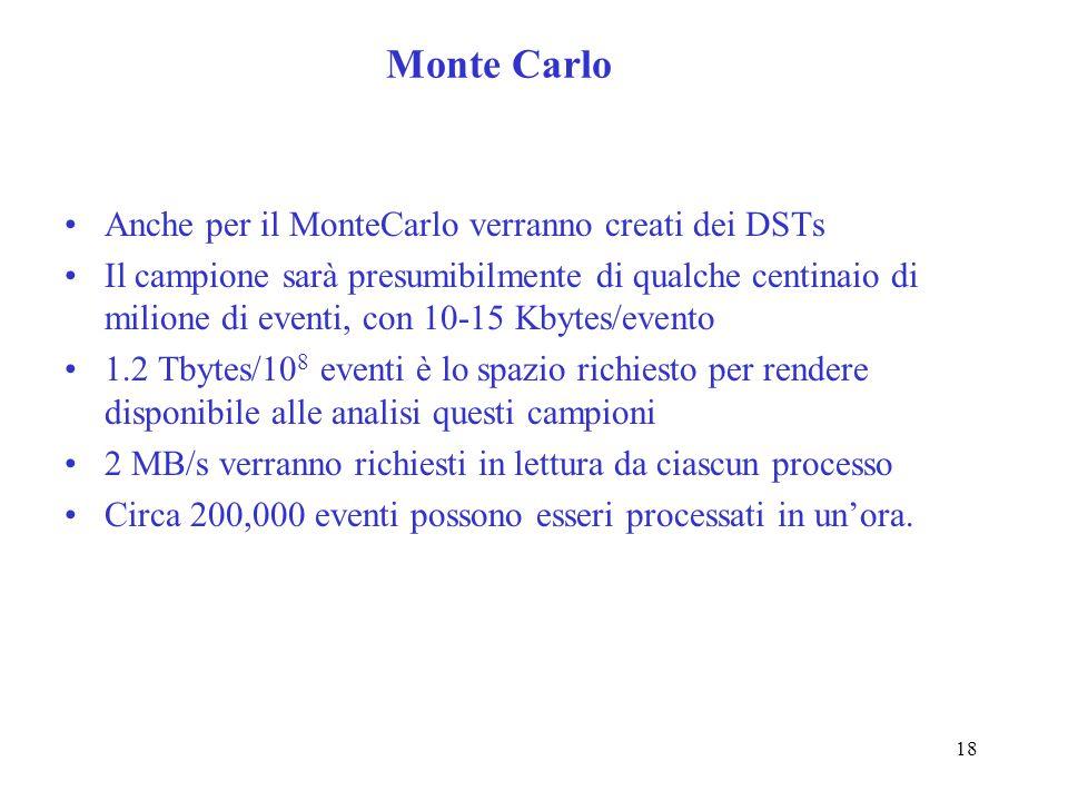 18 Monte Carlo Anche per il MonteCarlo verranno creati dei DSTs Il campione sarà presumibilmente di qualche centinaio di milione di eventi, con 10-15