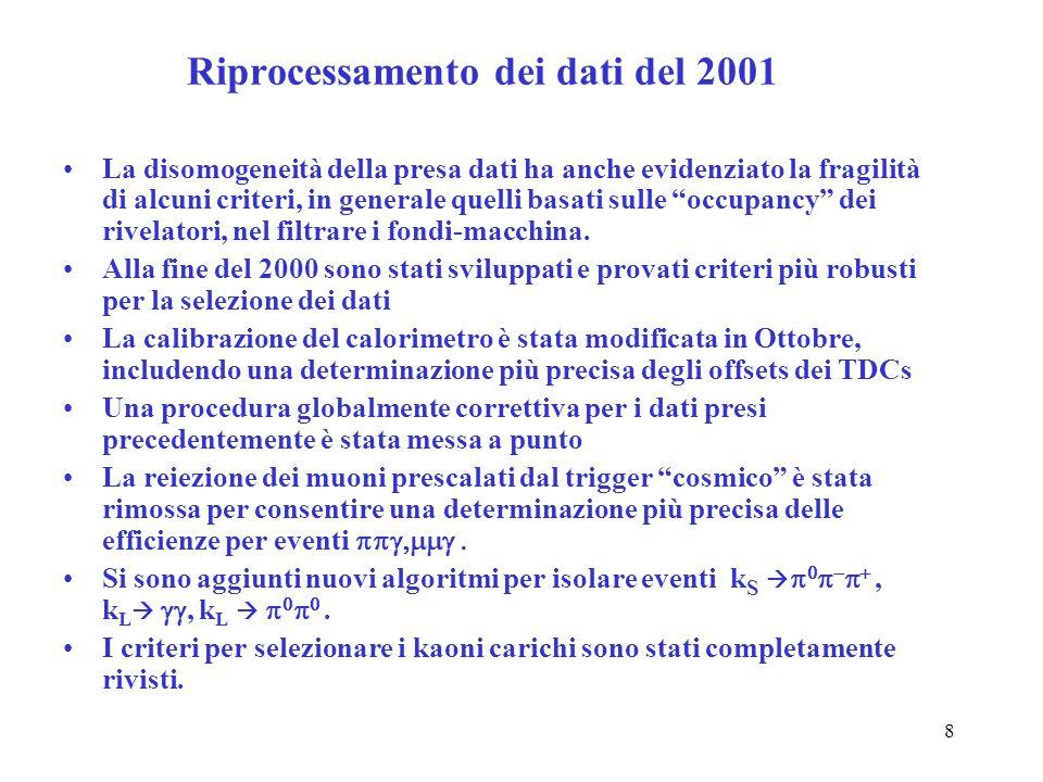 8 Riprocessamento dei dati del 2001 La disomogeneità della presa dati ha anche evidenziato la fragilità di alcuni criteri, in generale quelli basati s