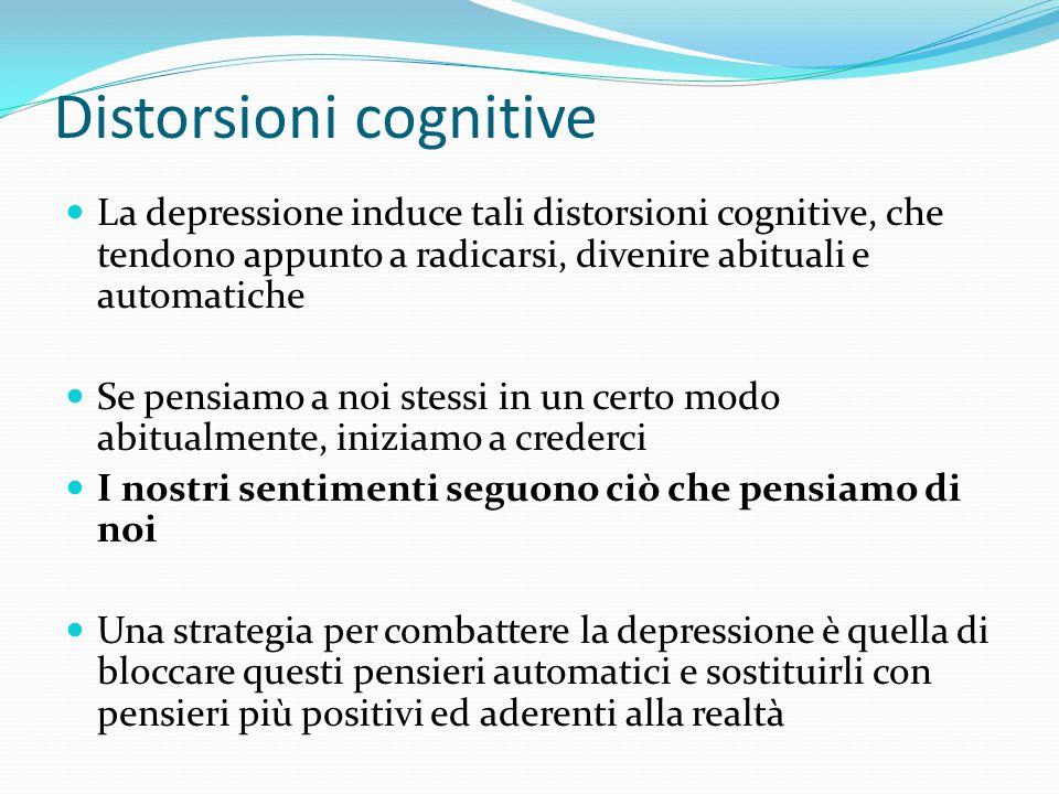 Distorsioni cognitive Ecco, sono un buono a nulla Anche stavolta ho fallito, sono un totale fallimento A me le cose vanno sempre male Non c'è modo di