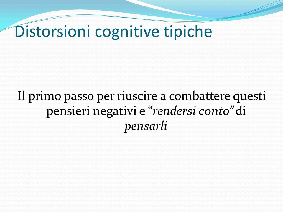 Distorsioni cognitive La depressione induce tali distorsioni cognitive, che tendono appunto a radicarsi, divenire abituali e automatiche Se pensiamo a