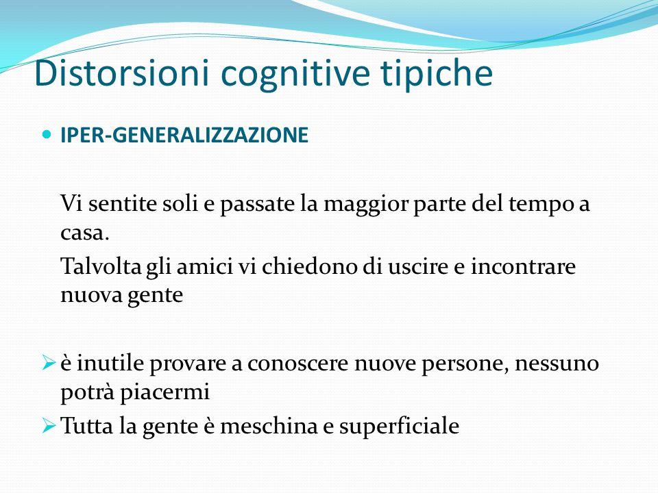 Distorsioni cognitive tipiche TUTTO O NIENTE Modalità assolutistica di pensare (sempre, mai, per sempre), senza sfumature di grigio. ELIMINARE I TERMI