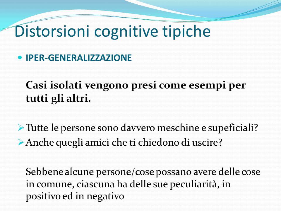 Distorsioni cognitive tipiche IPER-GENERALIZZAZIONE Vi sentite soli e passate la maggior parte del tempo a casa. Talvolta gli amici vi chiedono di usc