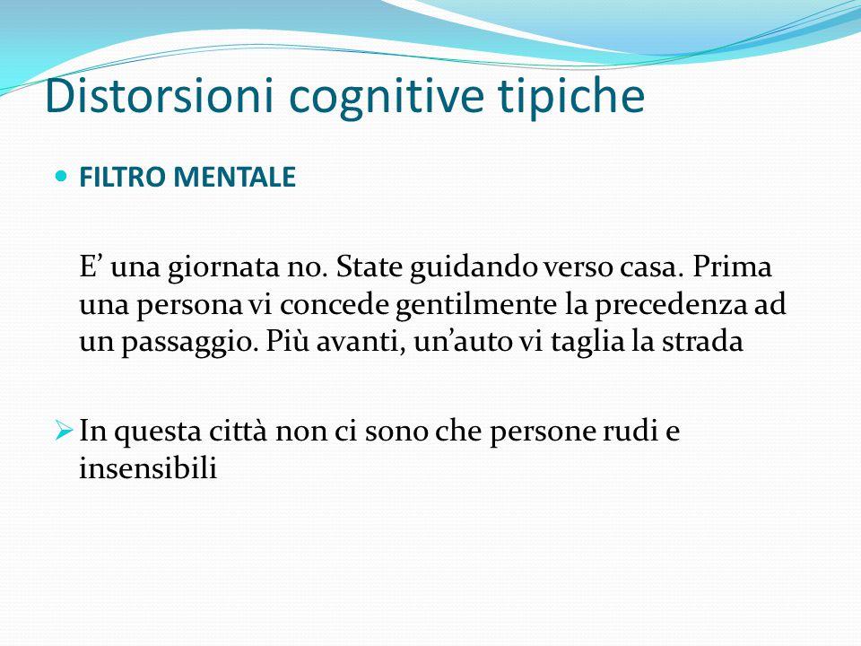 Distorsioni cognitive tipiche IPER-GENERALIZZAZIONE Casi isolati vengono presi come esempi per tutti gli altri.  Tutte le persone sono davvero meschi