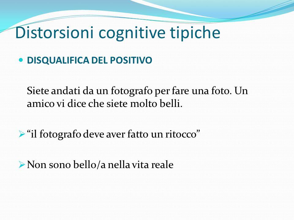 Distorsioni cognitive tipiche FILTRO MENTALE Focus solo sugli aspetti/eventi negativi e diniego di quelli positivi. IMPARIAMO A BILANCIARE POSITIVO E