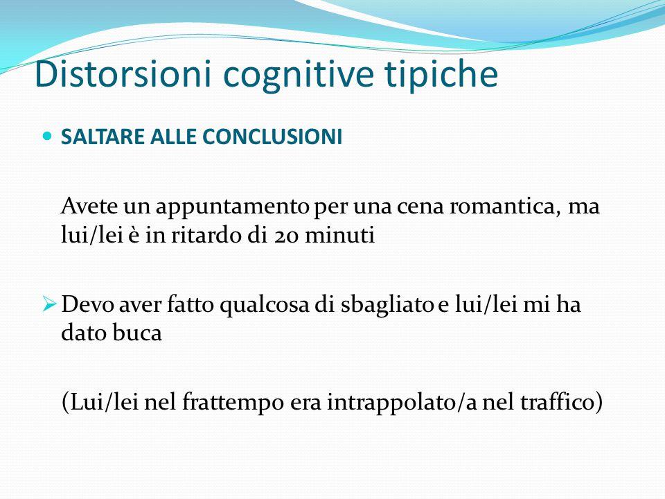 Distorsioni cognitive tipiche DISQUALIFICA DEL POSITIVO Le cose positive vengono modificate in negativo, in parte a causa di una scarsa auto-stima. In