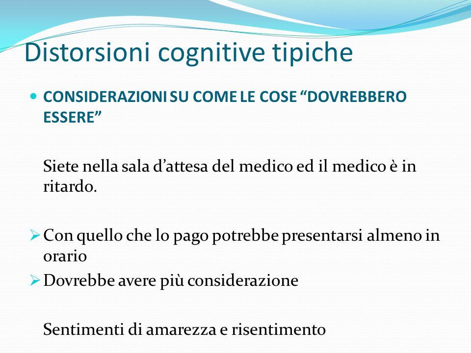 Distorsioni cognitive tipiche RAGIONAMENTO EMOTIVO Il ragionamento è fondato sul proprio modo di sentirsi (sopraffatti), non su come è realmente.  La