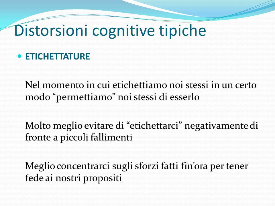 Distorsioni cognitive tipiche ETICHETTATURE Avete trasgredito la dieta che state facendo per dimagrire  Sono grasso/a,  e un/a pigro/a ciccione/a