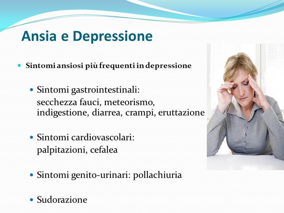 Ansia e Depressione Sintomi ansiosi più frequenti in depressione Irrequitezza, incapacità a stare fermi Preoccupazioni, paure Tensione, irritabilità M