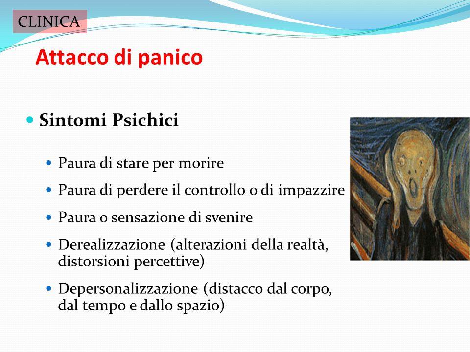 Attacco di panico Periodo di paura o disagio intensi spesso senza alcuna ragione scatenante Insorge improvvisamente e raggiunge il picco massimo entro