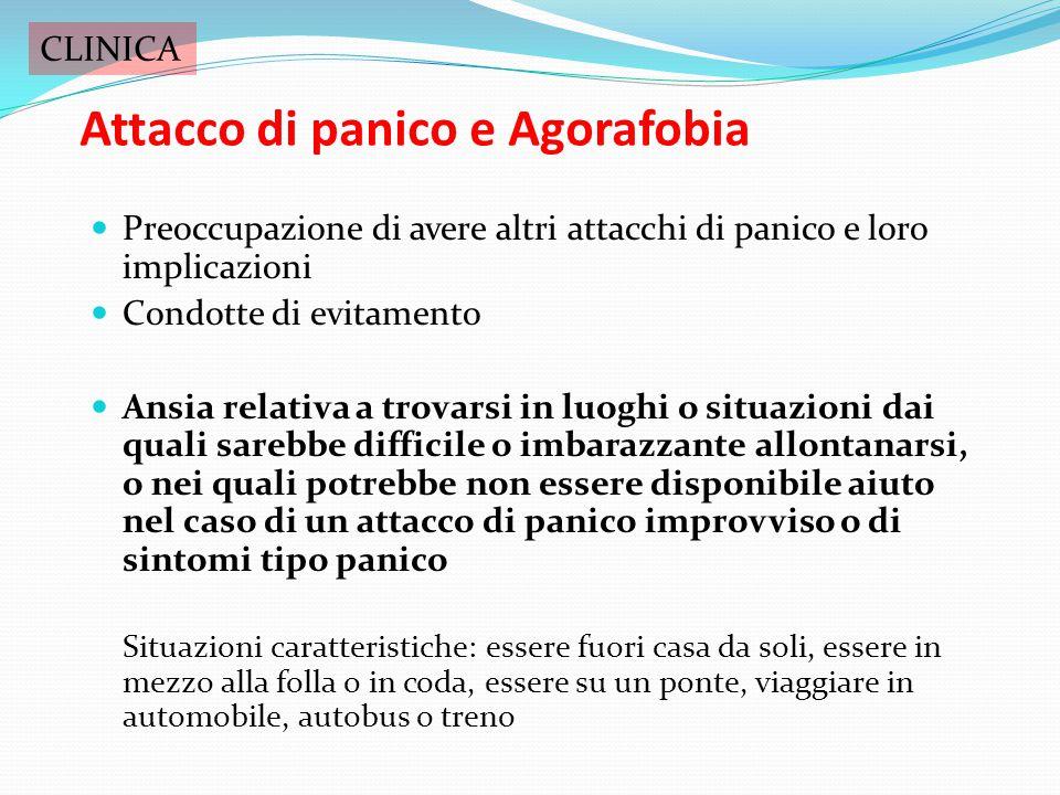 Attacco di panico Preoccupazione di avere altri attacchi di panico Preoccupazioni rispetto alle implicazioni di aver avuto un attacco di panico (impaz