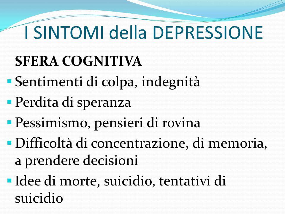 """I SINTOMI della DEPRESSIONE SFERA EMOTIVA  Umore persistentemente triste, sentimenti di """"vuoto""""  Perdita di interesse o mancanza di piacere nelle at"""