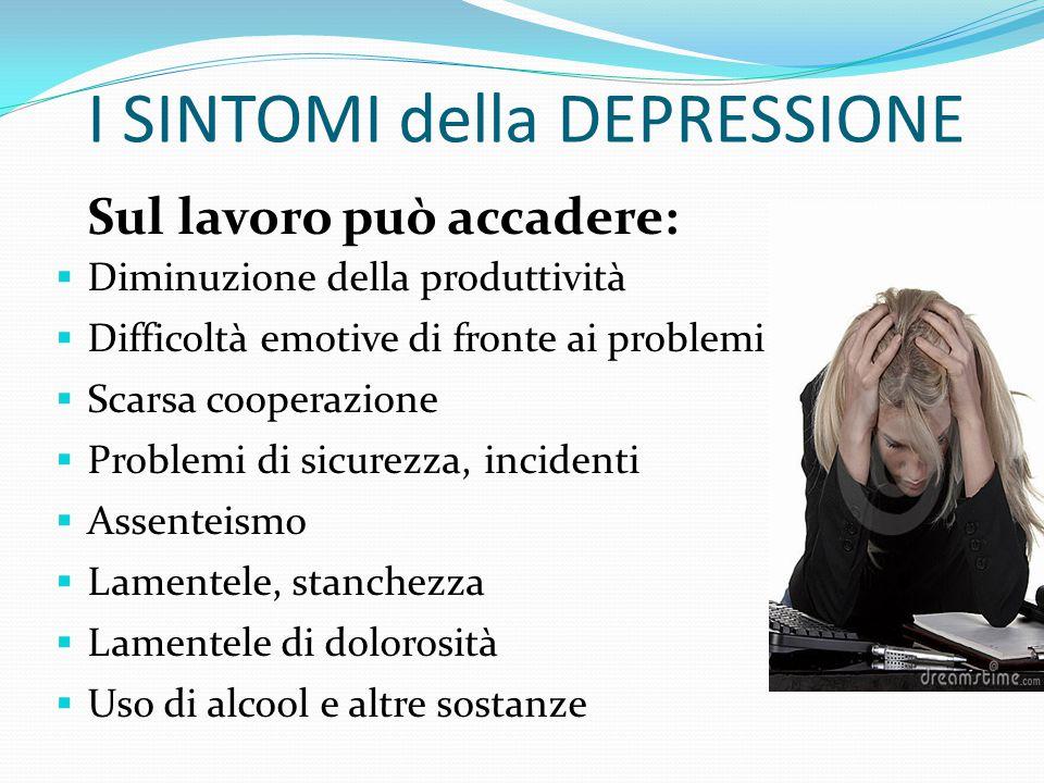 I SINTOMI della DEPRESSIONE SFERA SOMATICA  Mancanza di energie, affaticabilità, stanchezza  Alterazioni del sonno (insonnia, risveglio precoce, ipe