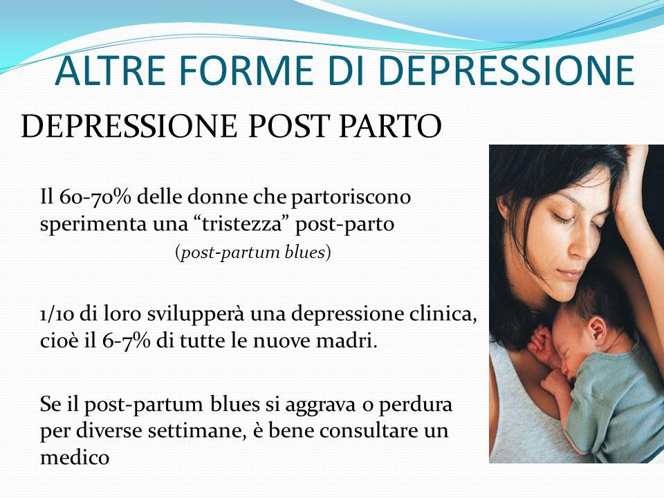 ALTRE FORME DI DEPRESSIONE DEPRESSIONE STAGIONALE (sindrome affettiva stagionale, SAD) Gli episodi tipicamente ricorrono in concomitanza di stagioni s