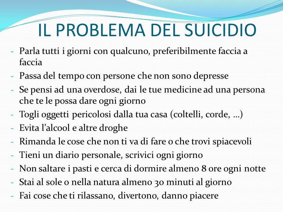 IL PROBLEMA DEL SUICIDIO In questo tempo PARLATENE con qualcuno Un amico fidato, un famigliare, un prete, il vostro dottore o terapista, …
