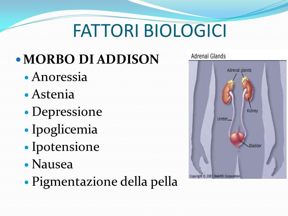 FATTORI BIOLOGICI MORBO DI ADDISON Carenza di CORTICOSTEROIDI, ormoni che regolano il metabolismo idrico e glucidico