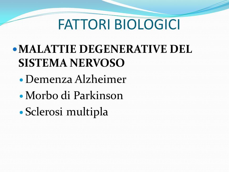 FATTORI BIOLOGICI MORBO DI ADDISON Anoressia Astenia Depressione Ipoglicemia Ipotensione Nausea Pigmentazione della pella
