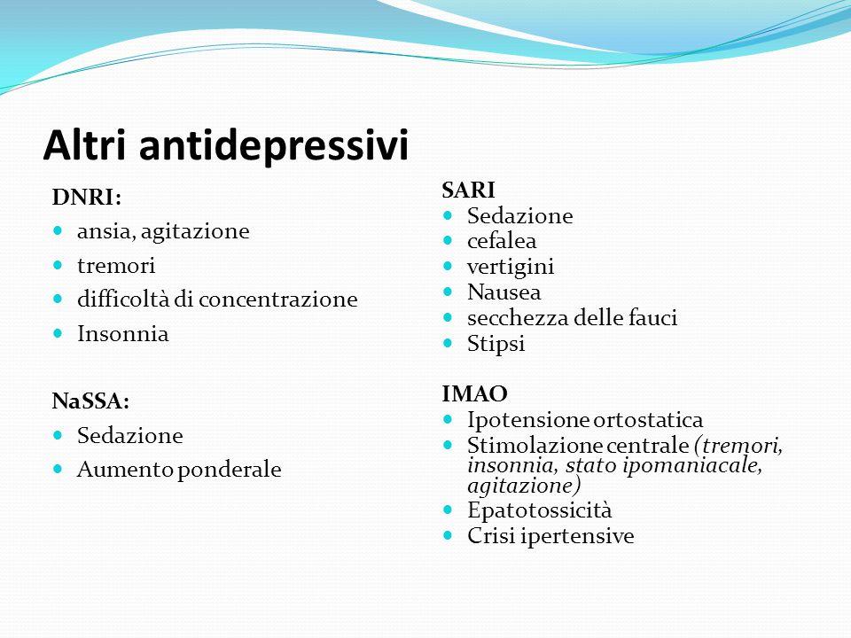 Triciclici S.N.C.: vertigini astenia insonnia / sonnolenza irrequietezza fini tremori alle mani stato confusionale eccitazione maniacale convulsioni S