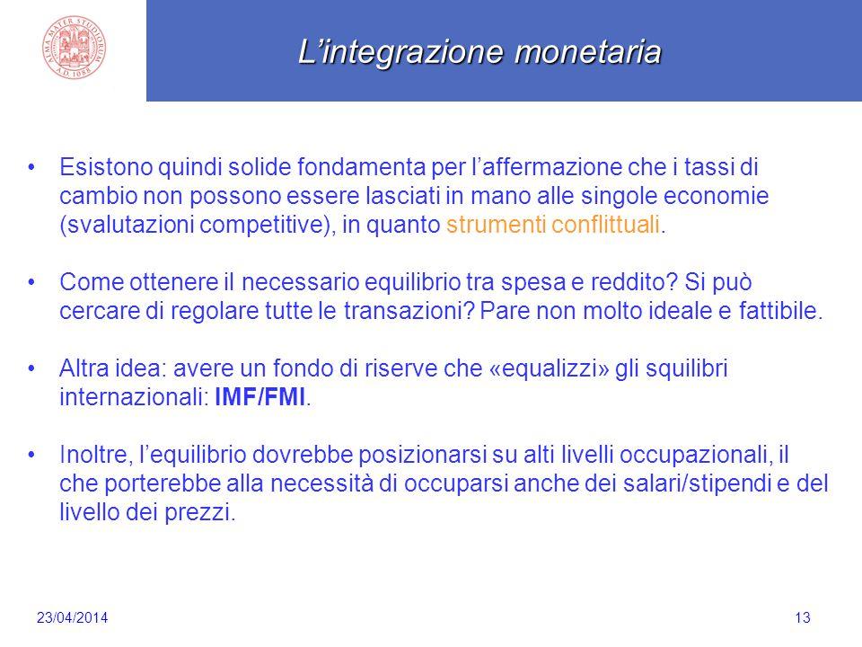 Scaletta 13 Esistono quindi solide fondamenta per l'affermazione che i tassi di cambio non possono essere lasciati in mano alle singole economie (sval