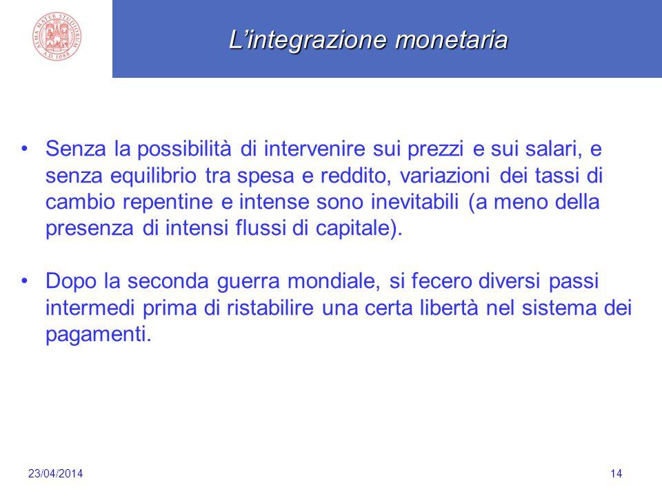 Scaletta 14 Senza la possibilità di intervenire sui prezzi e sui salari, e senza equilibrio tra spesa e reddito, variazioni dei tassi di cambio repent