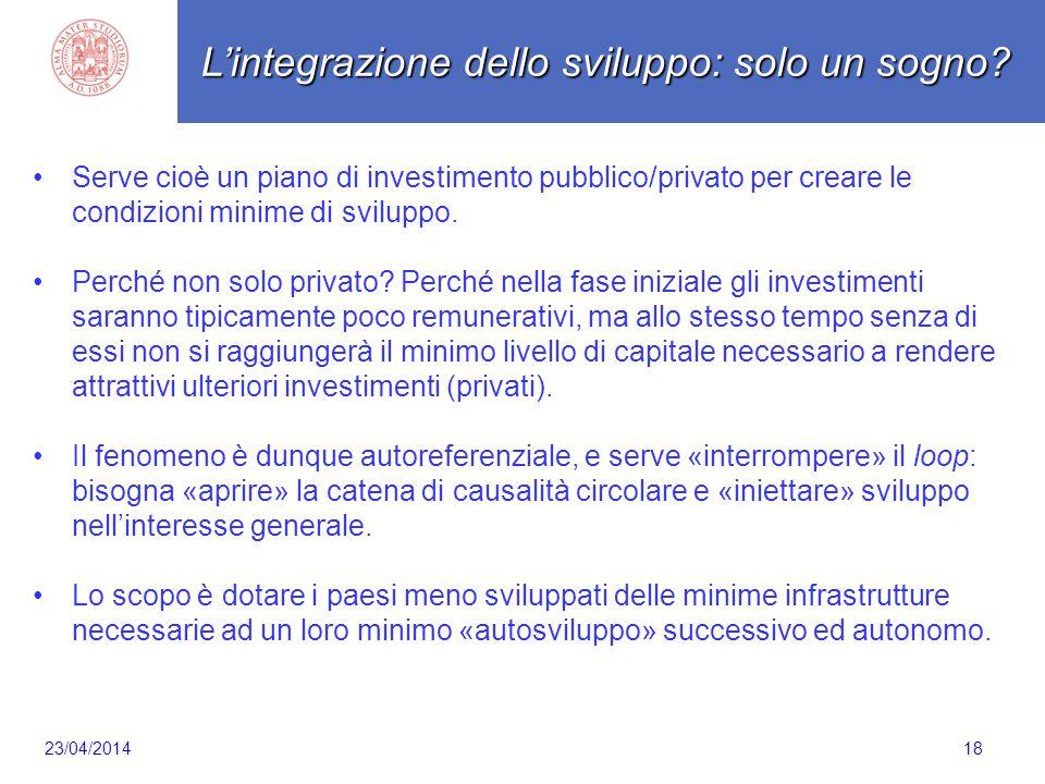 Scaletta 18 Serve cioè un piano di investimento pubblico/privato per creare le condizioni minime di sviluppo. Perché non solo privato? Perché nella fa