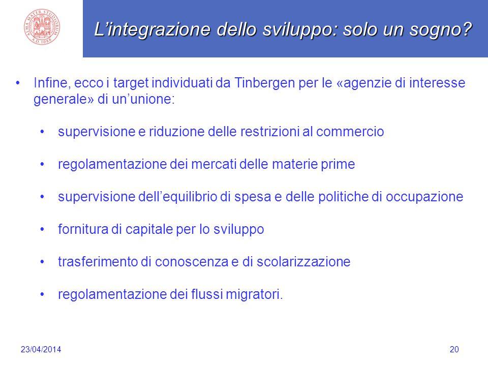 Scaletta 20 Infine, ecco i target individuati da Tinbergen per le «agenzie di interesse generale» di un'unione: supervisione e riduzione delle restriz