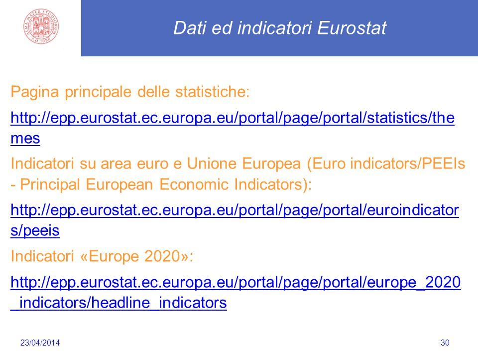 30 Dati ed indicatori Eurostat Pagina principale delle statistiche: http://epp.eurostat.ec.europa.eu/portal/page/portal/statistics/the mes Indicatori